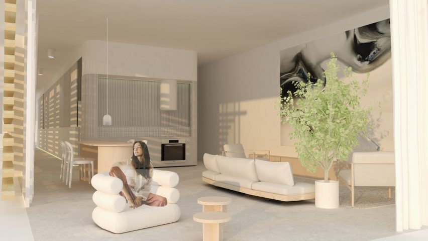 Beige interior and furntiure fill the space