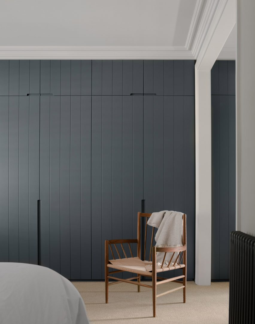 Bedroom with built-in cabinets, T-House by Will Gamble Architects