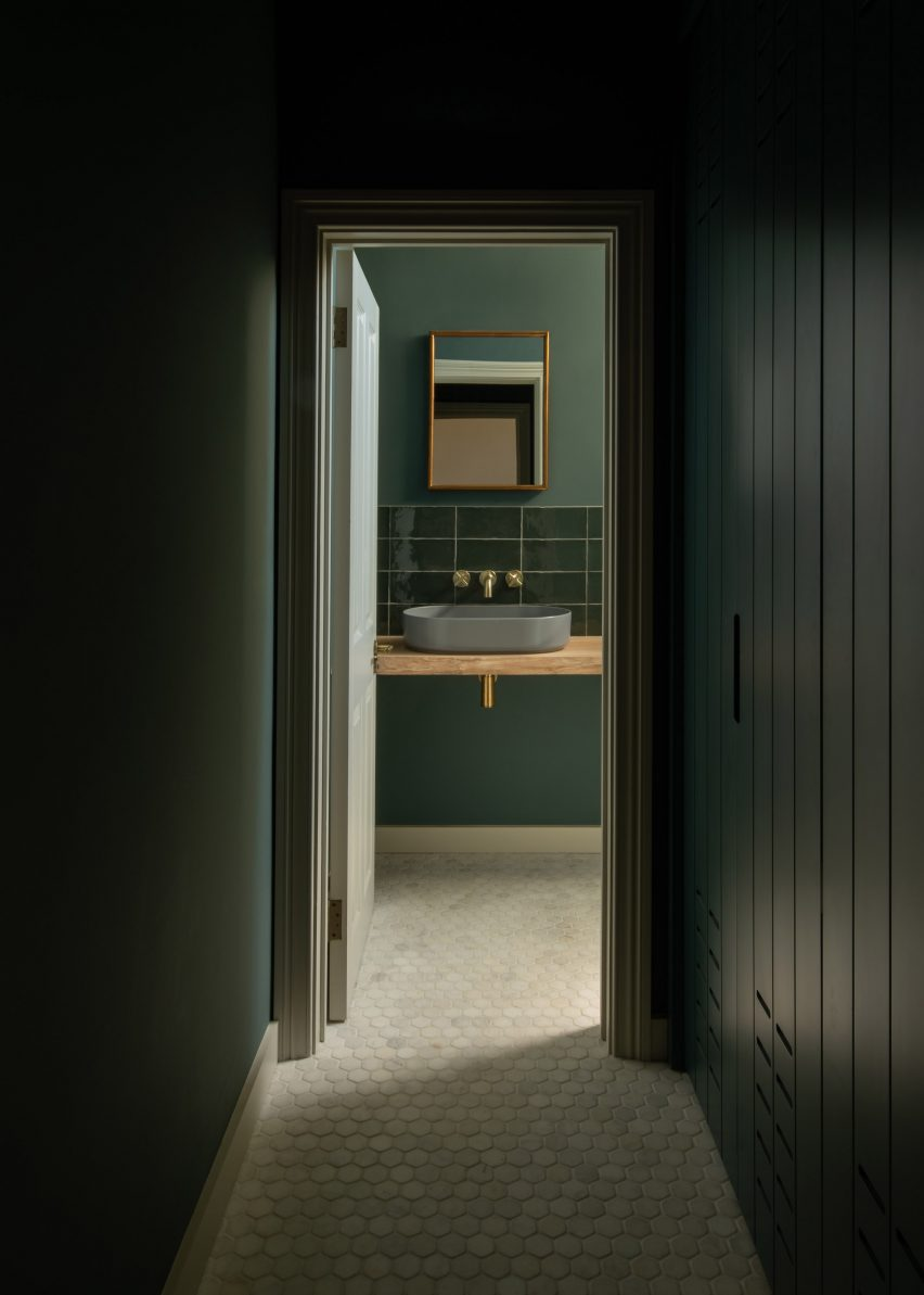 Hallway and bathroom, T-House by Will Gamble Architects