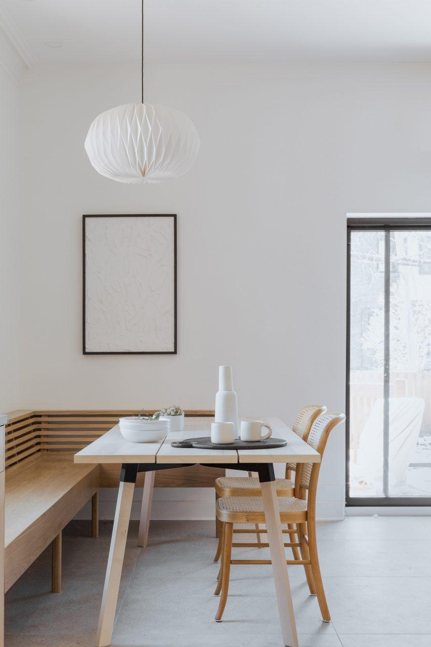 Breakfast nook in Montreal home renovation