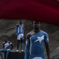 Athletes wearing the blue and white Telfar Olympic uniforms