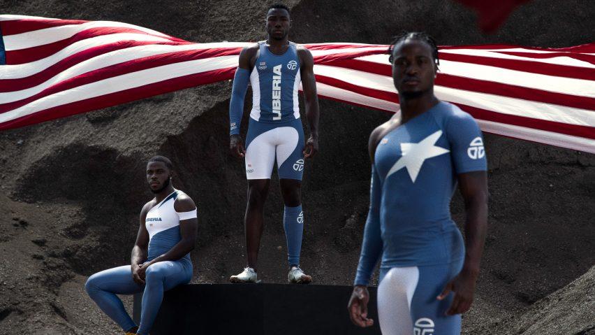 Three athletes wearing blue and white Telfar olympics uniforms