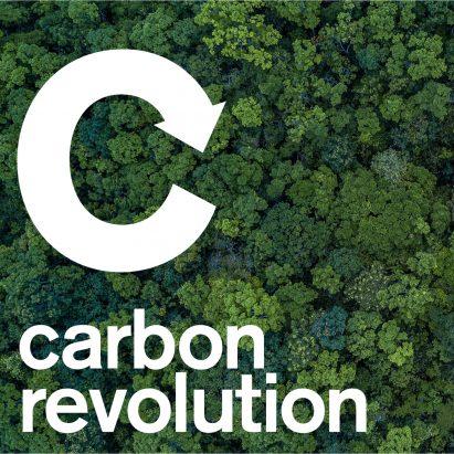 Carbon revolution logo against trees