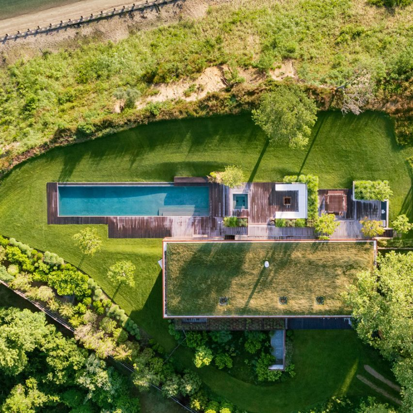 Aerial view of Hamptons house