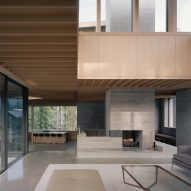 Lounge and fireplace, The Rock house in Whistler by Gort Scott