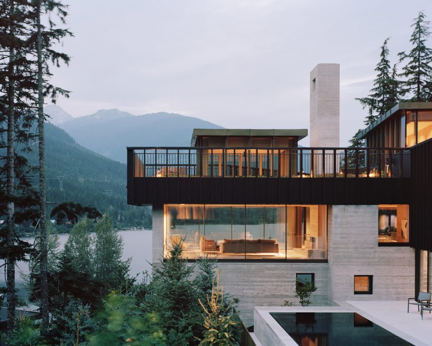 Dusk view, The Rock house in Whistler by Gort Scott