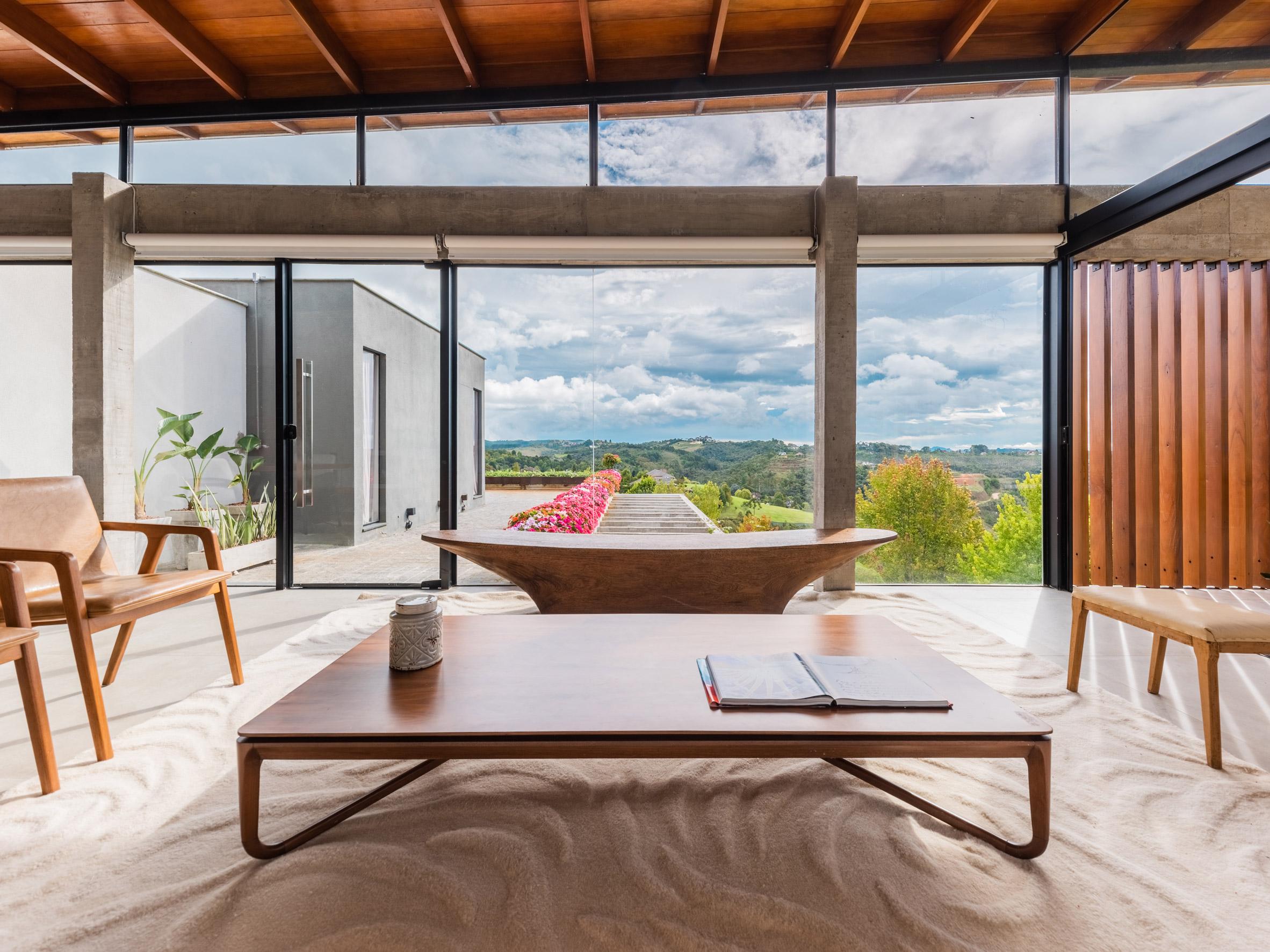 Living room views from OTP Arquitetura House in Brazil