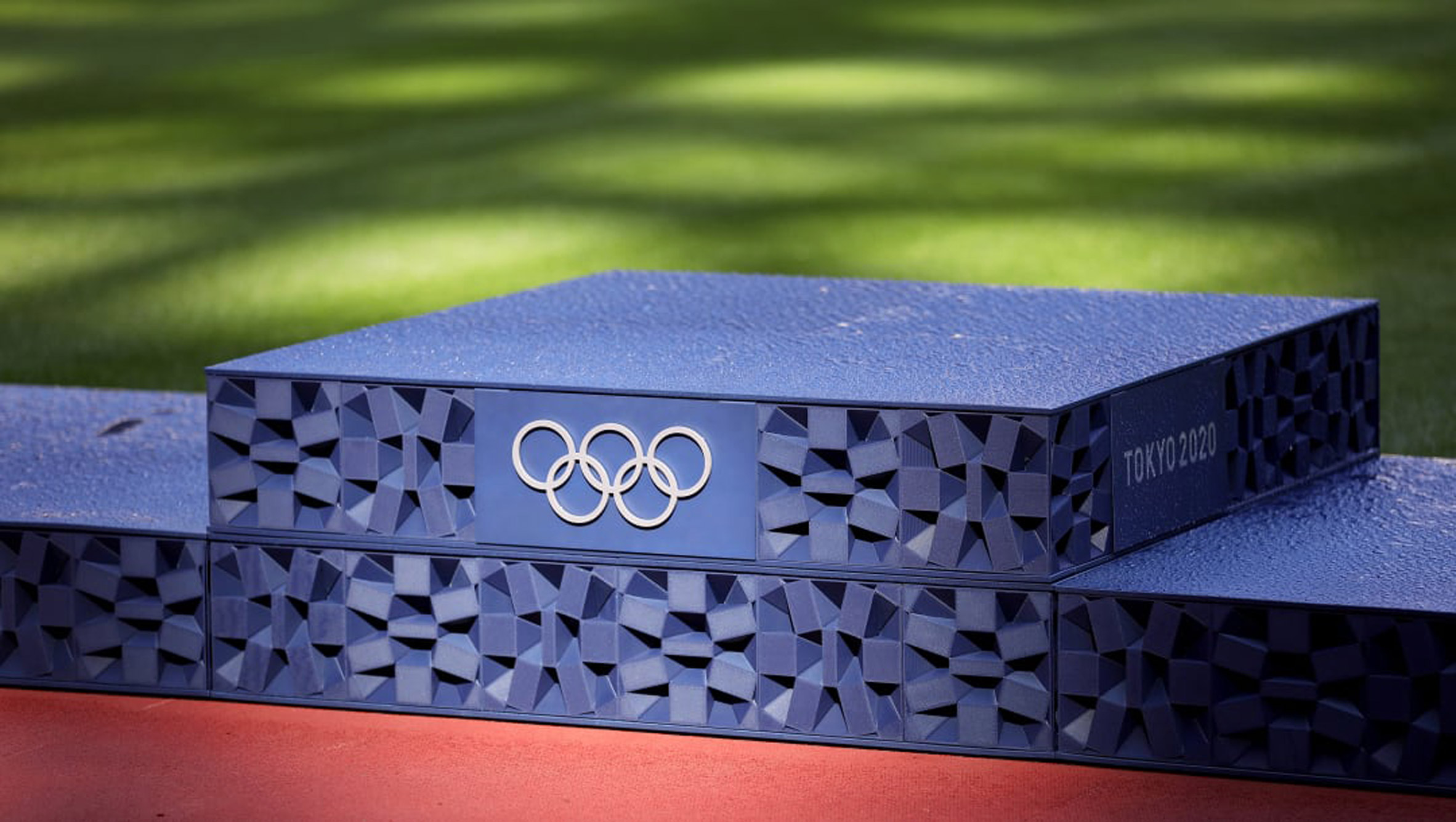 Close-up of Tokyo 2020 Olympic pedestals with rings