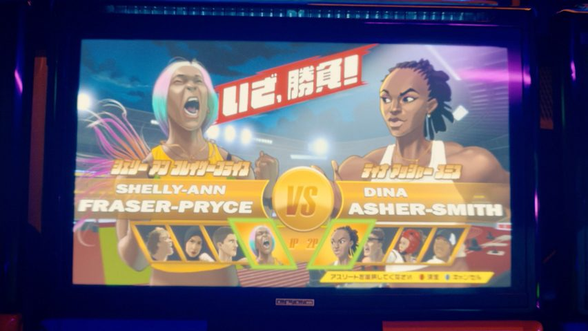 Video arcade scene with Street Fighter-style game including Dina Asher-Smith and Shelly-Ann Fraser-Pryce in BBC trailer for Tokyo 2020 Olympics produced by Factory Fifteen and Nexus Studios