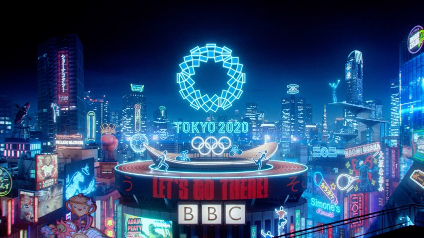 Rooftop and lights in final scene in BBC trailer for Tokyo 2020 Olympics produced by Factory Fifteen and Nexus Studios