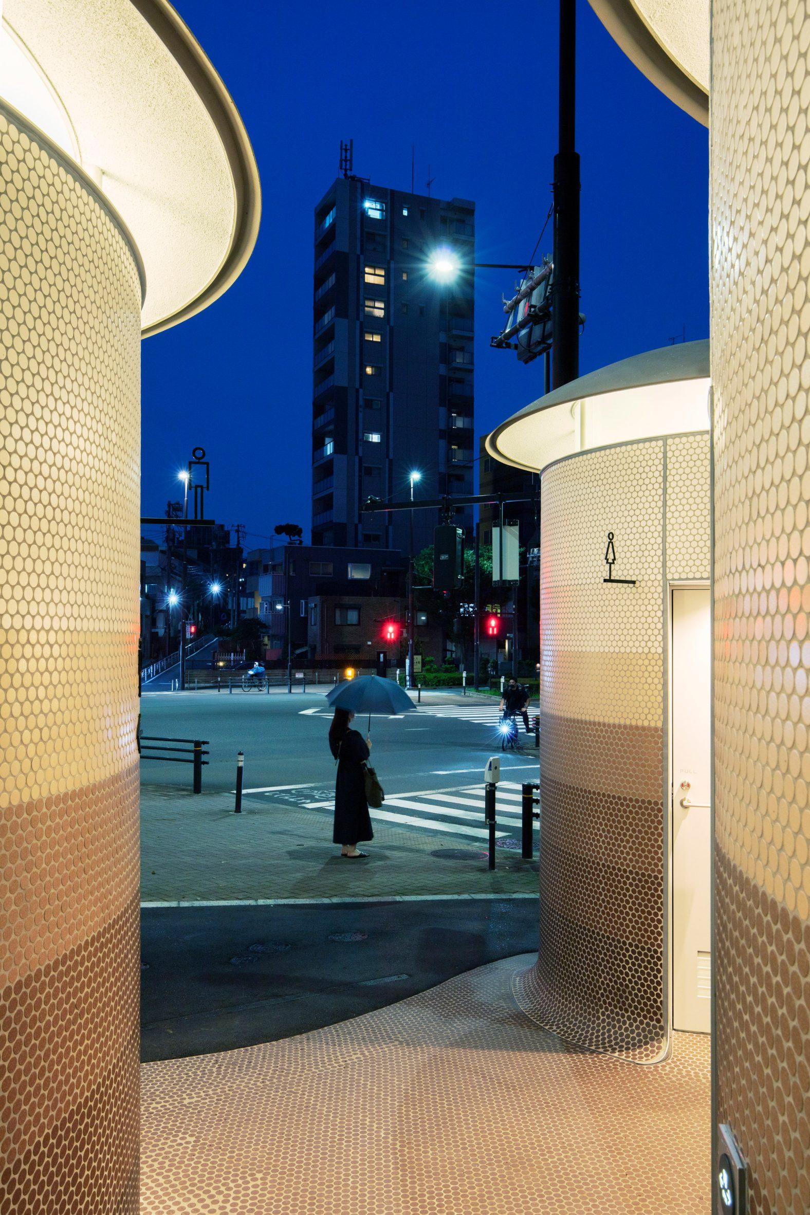 Public toilet at night