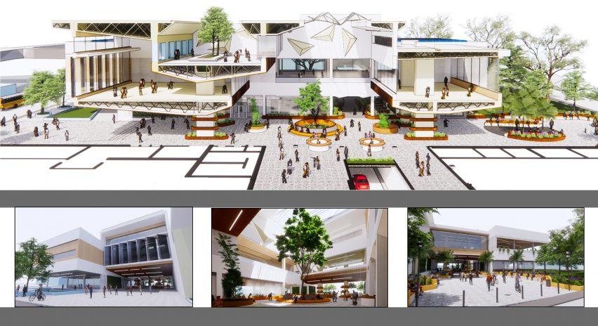 Arsitektur Central Kingston Library ditampilkan dalam proyek