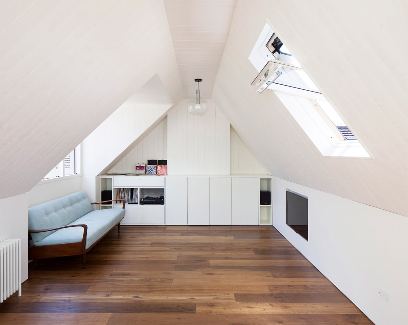 A guest bedroom in a London attic