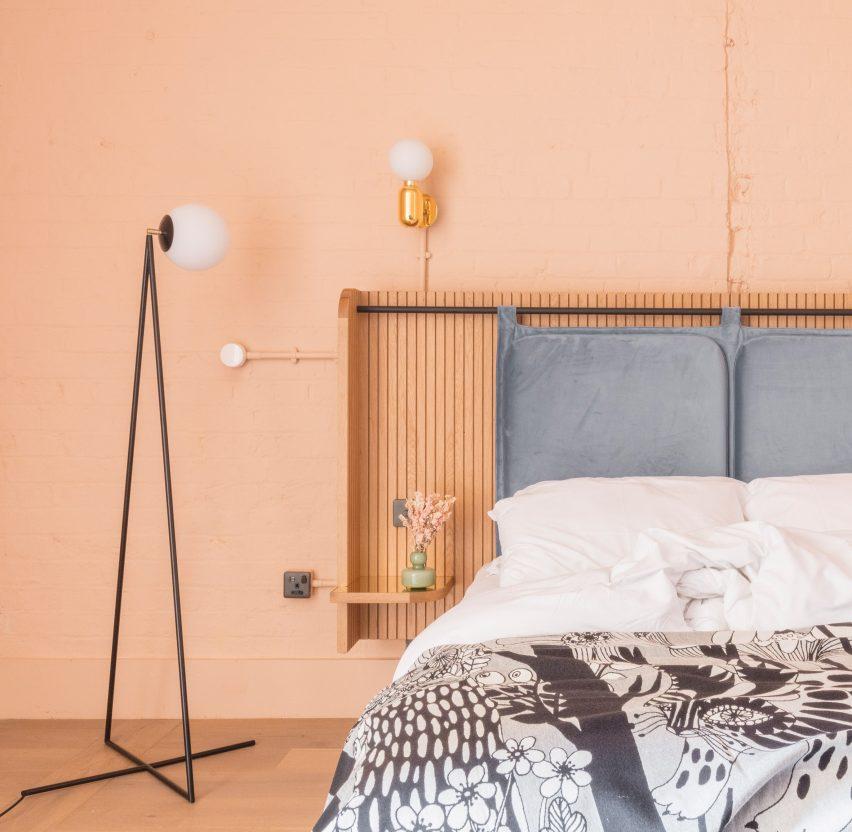Vintage pastel hotel bedroom interiors