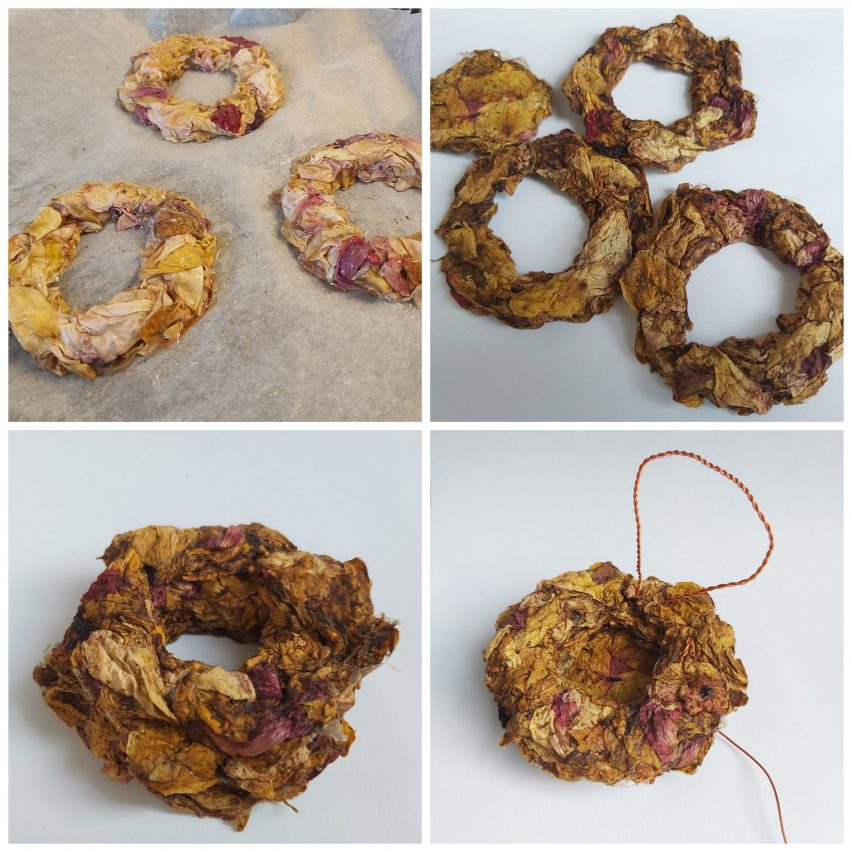 Textile project made from dried flowers and moss