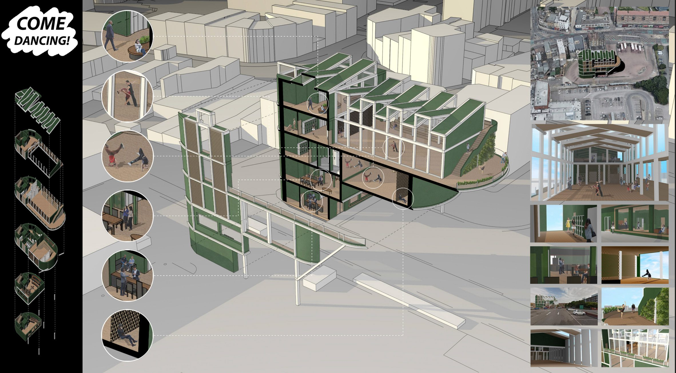 A visualisation of a dance studio in Peckham