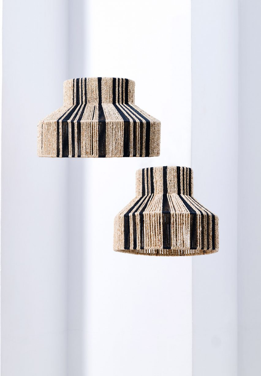 Light shades made from cream and black cord