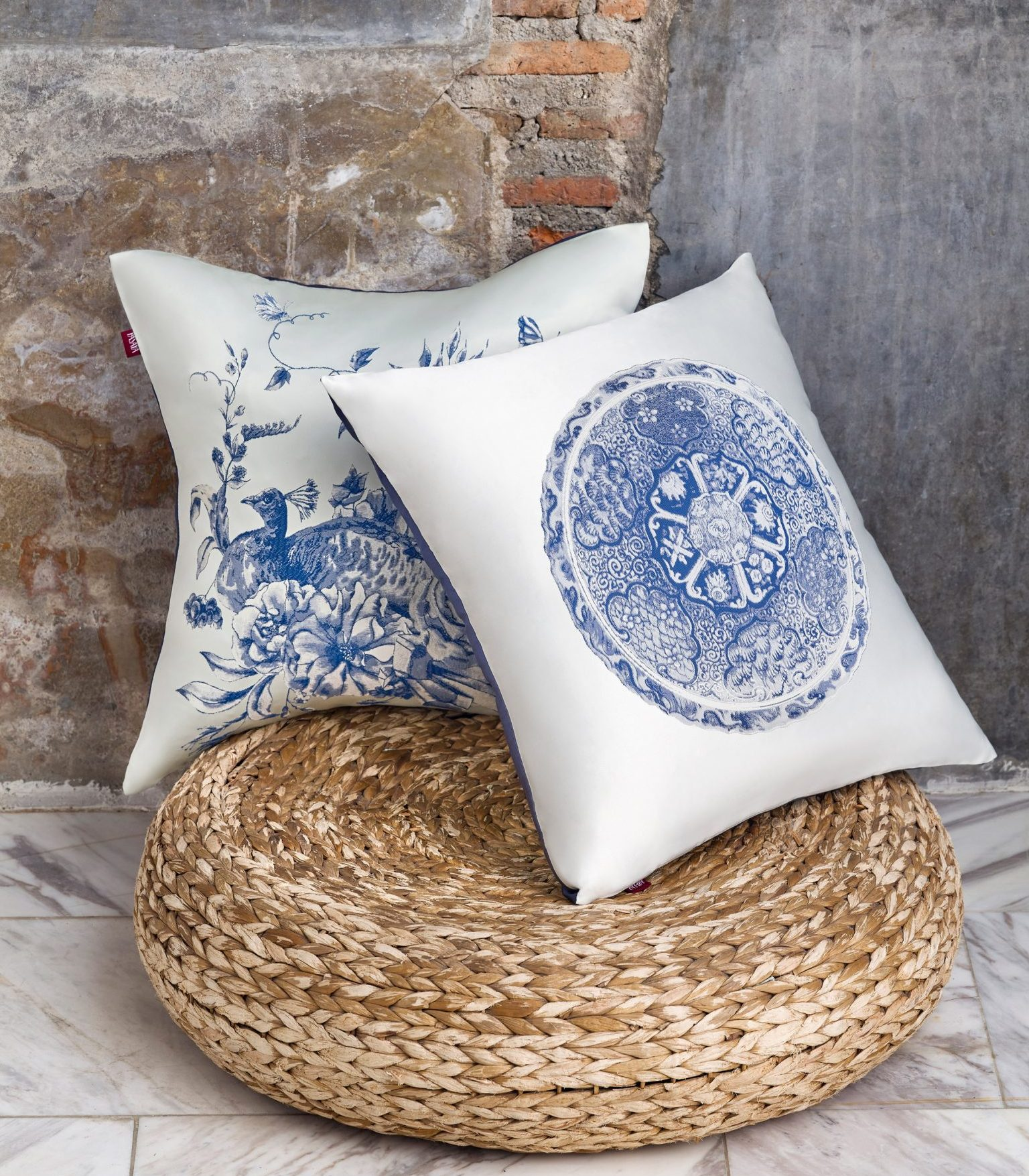 White cushions with blue and white patterns