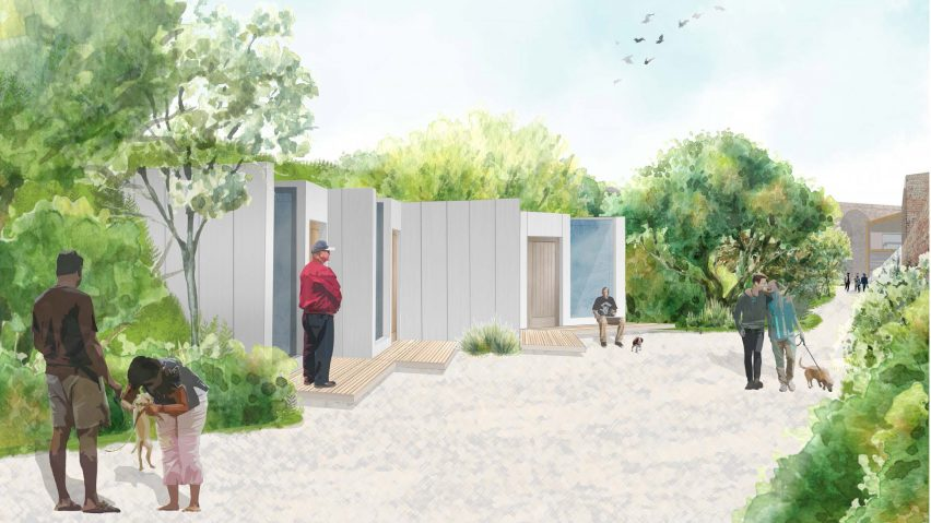A visualisation of a dog-friendly homeless sanctuary