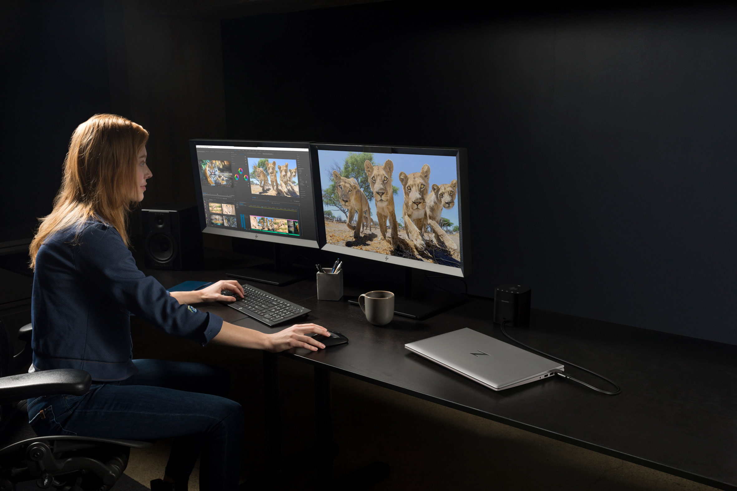 A photograph of a woman using a HP workstation