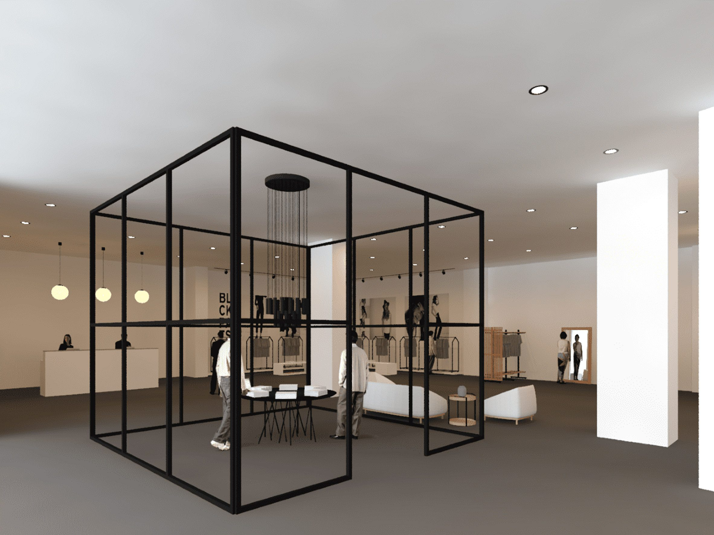 A cafe based on European designs. It has a box-like black structure with neutral products