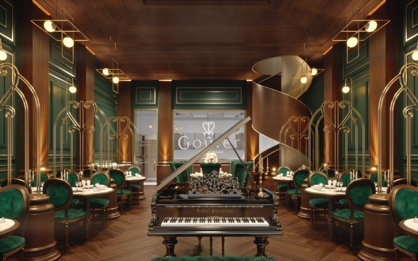 A Luxury French Restaurant With Art-Deco and green velvet aesthetic