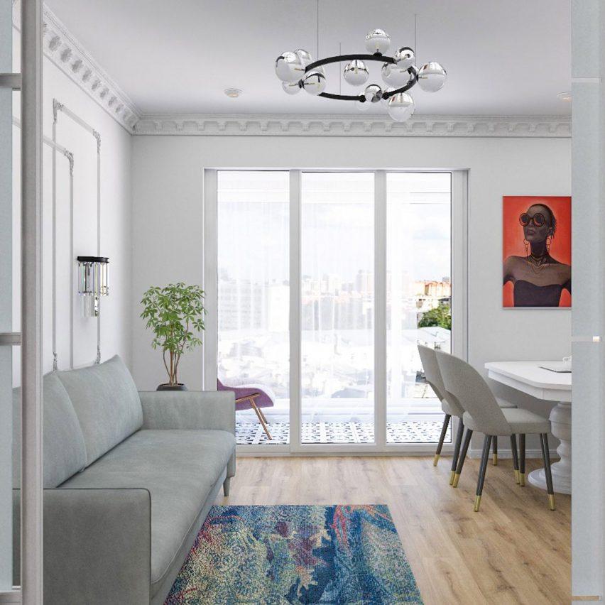 White interior inspired by 1960 design