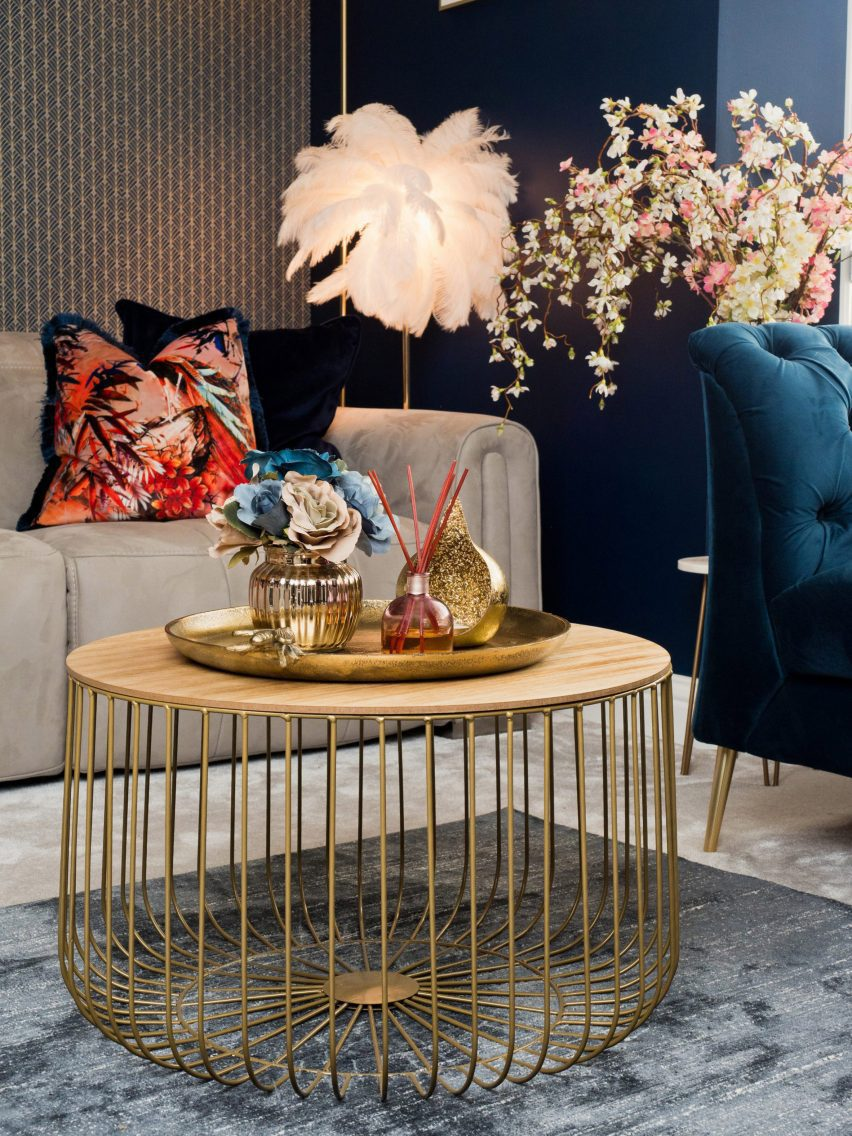 An interior with luxurious colourful products