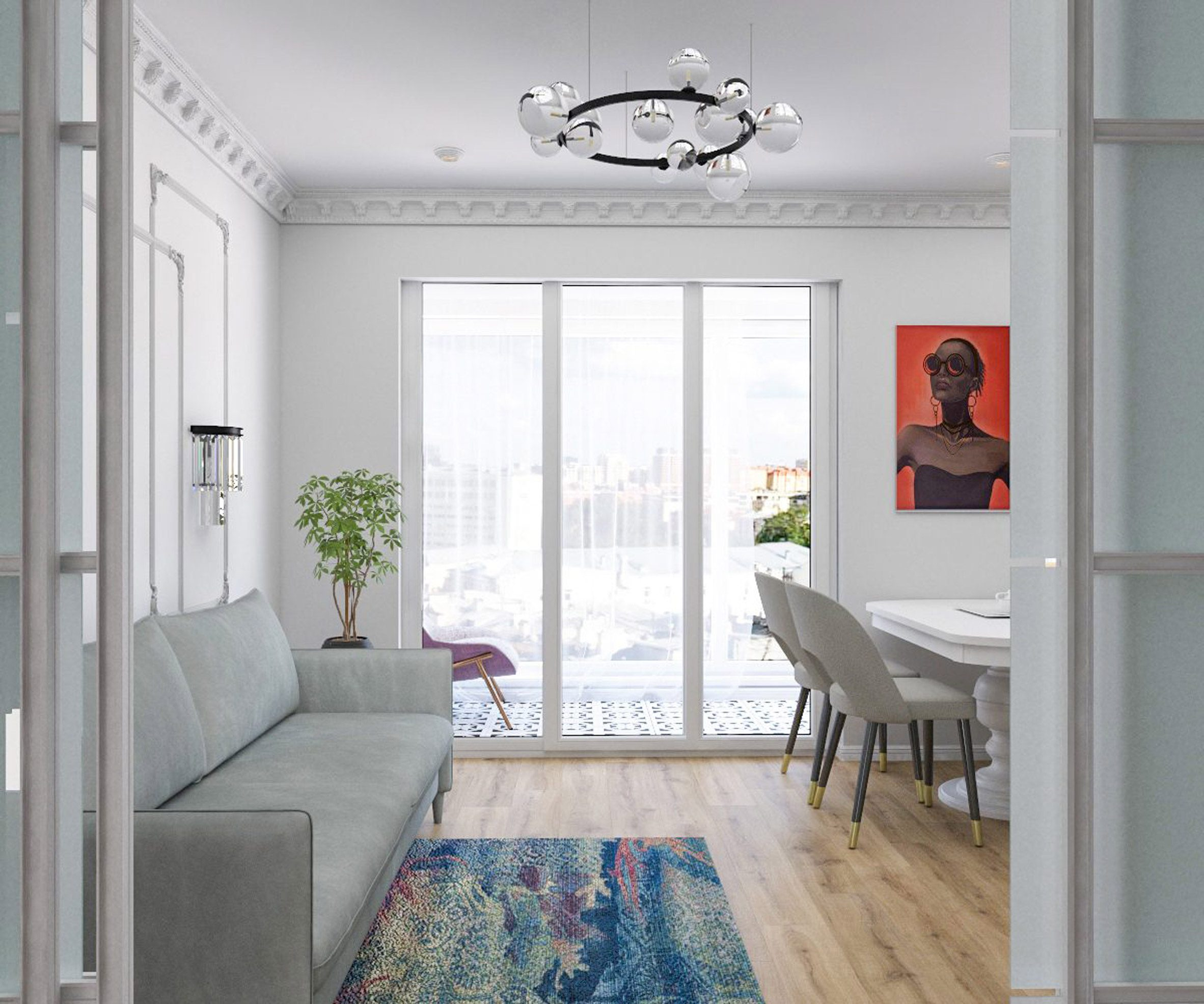 Interior with white walls and neutral products