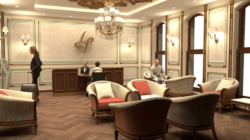 A hotel built in a Victorian building. It has a traditional design with cream walls and seating