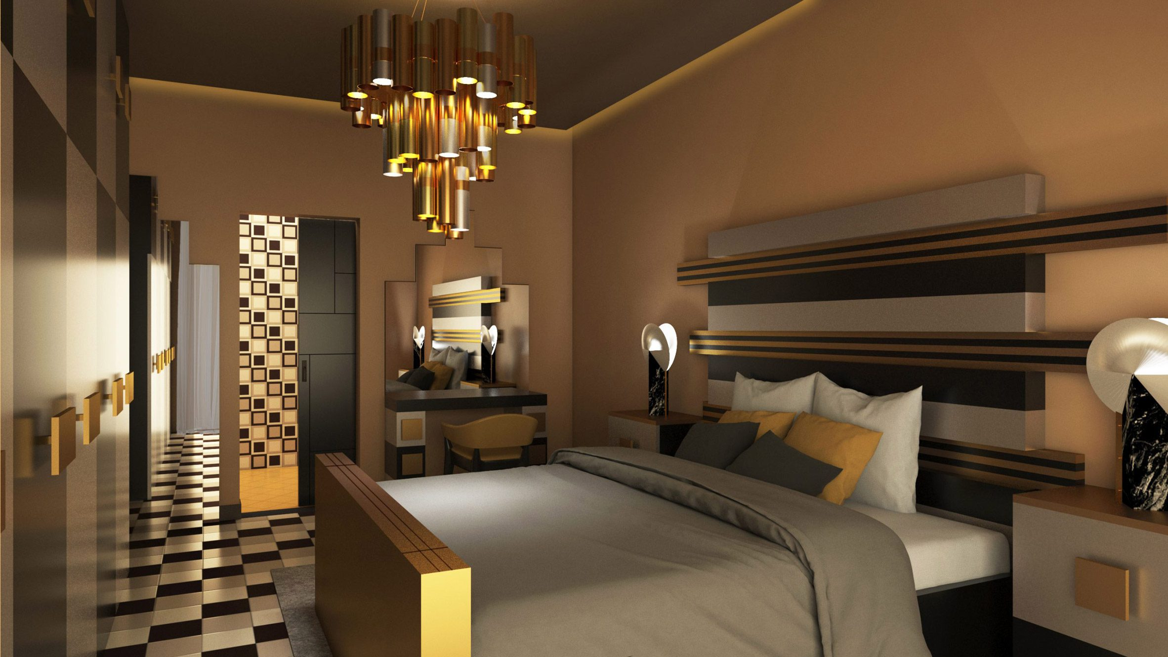 A bedroom with a gold and grey aesthetic