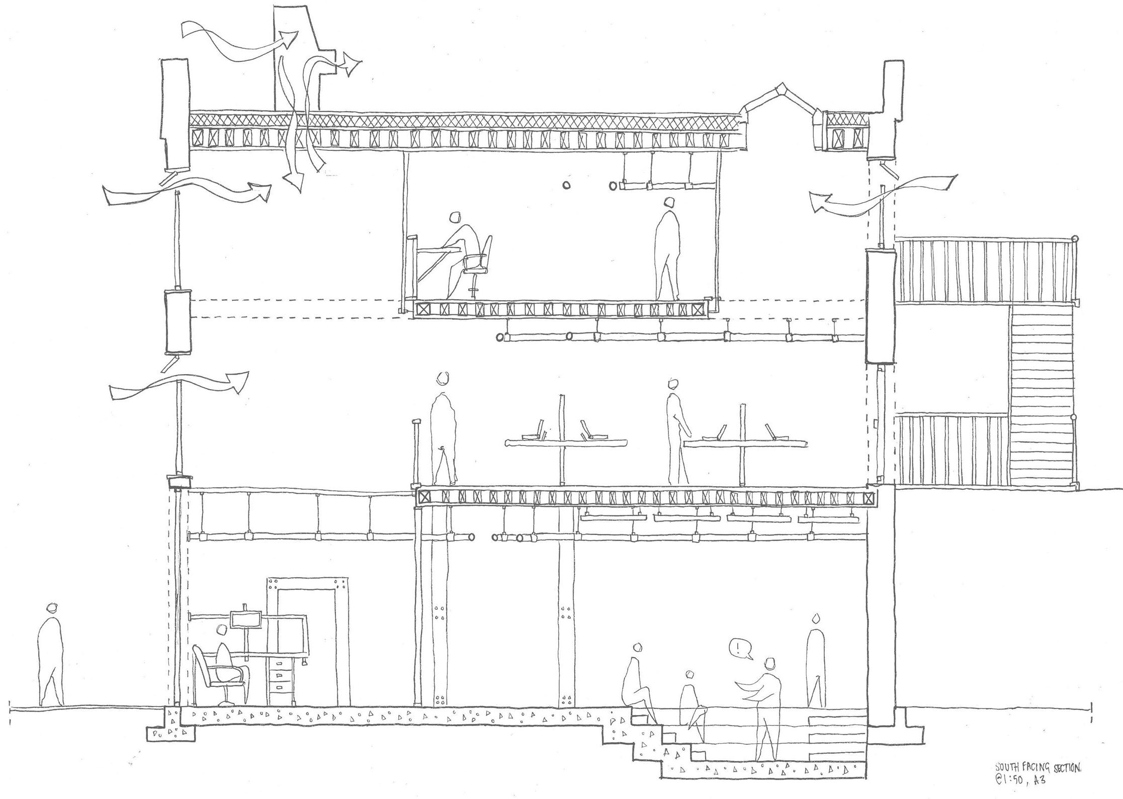 An architectural illustration of a house