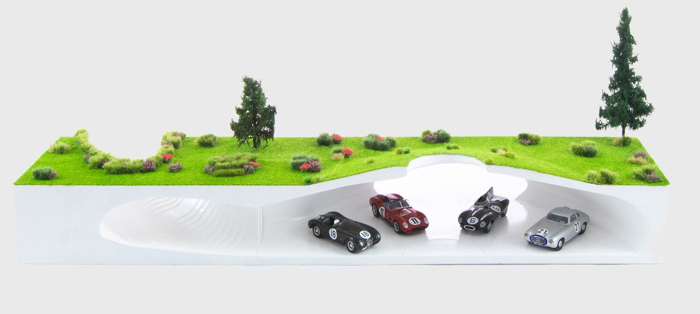 A model of an underground car showroom
