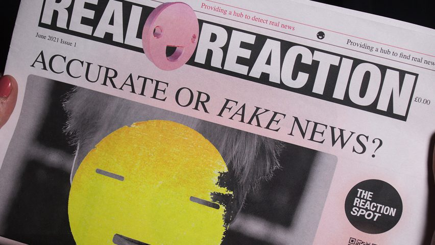 A newspaper headline about real or fake news