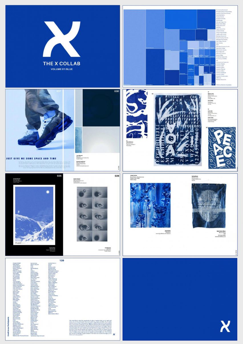 A magazine-like collaborative layout of students work in blue colours