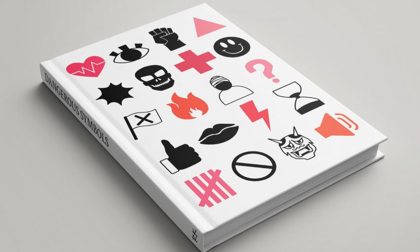 A graphic design book with various symbols on its cover