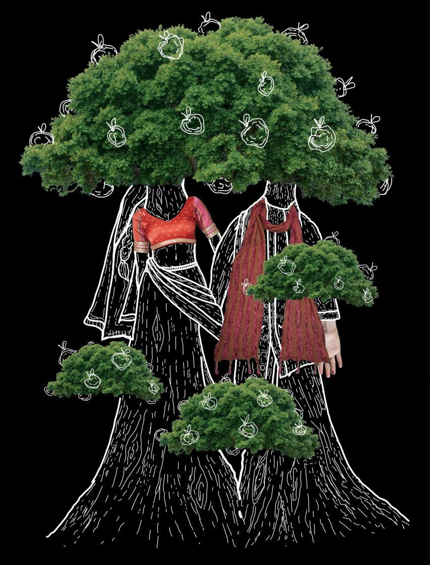An illustration showing two people with bodies and heads that resemble trees