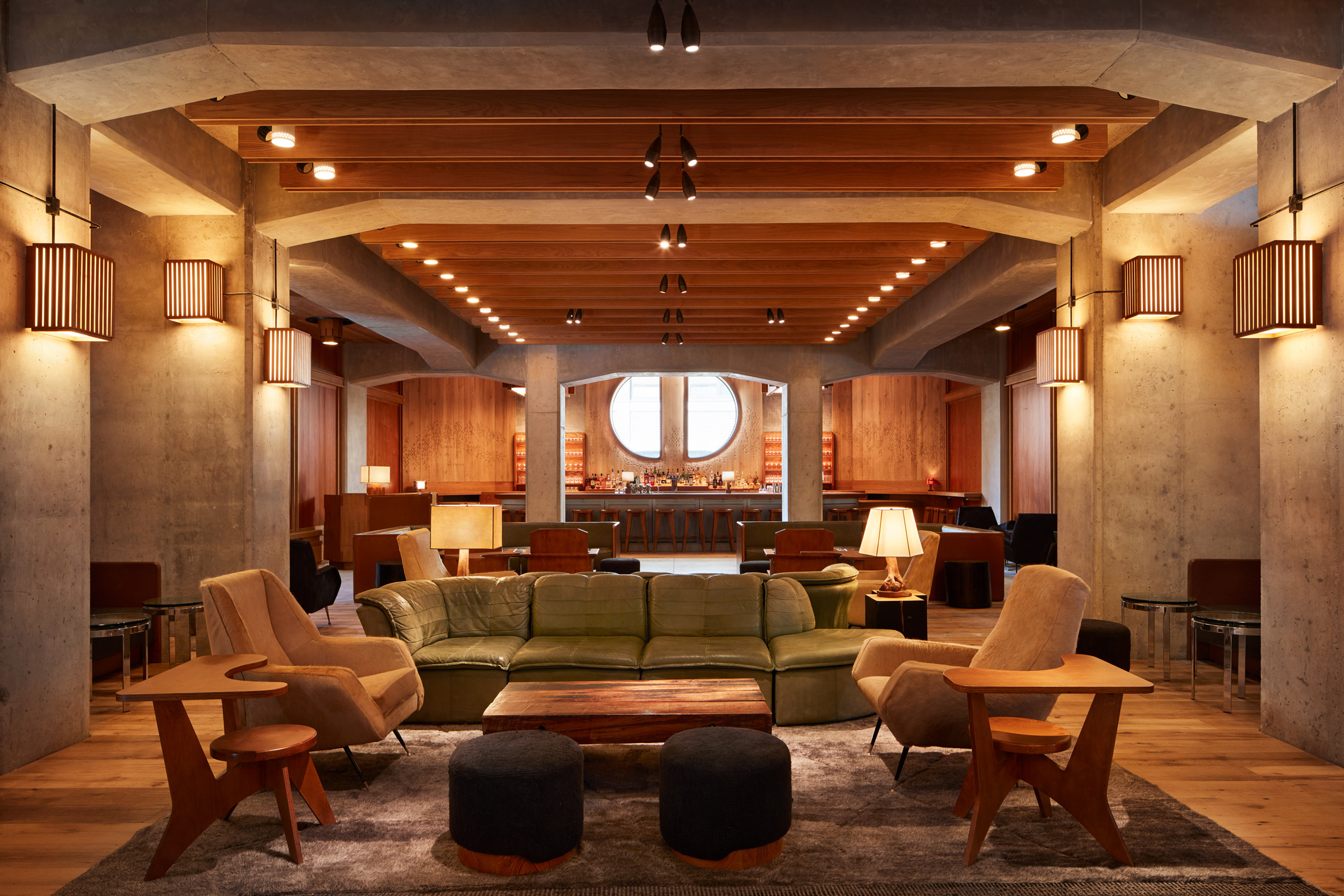 Lounge with wooden ceiling