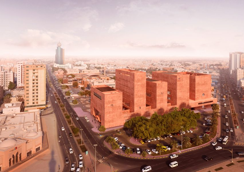 An aerial visual of The Africa Institute campus