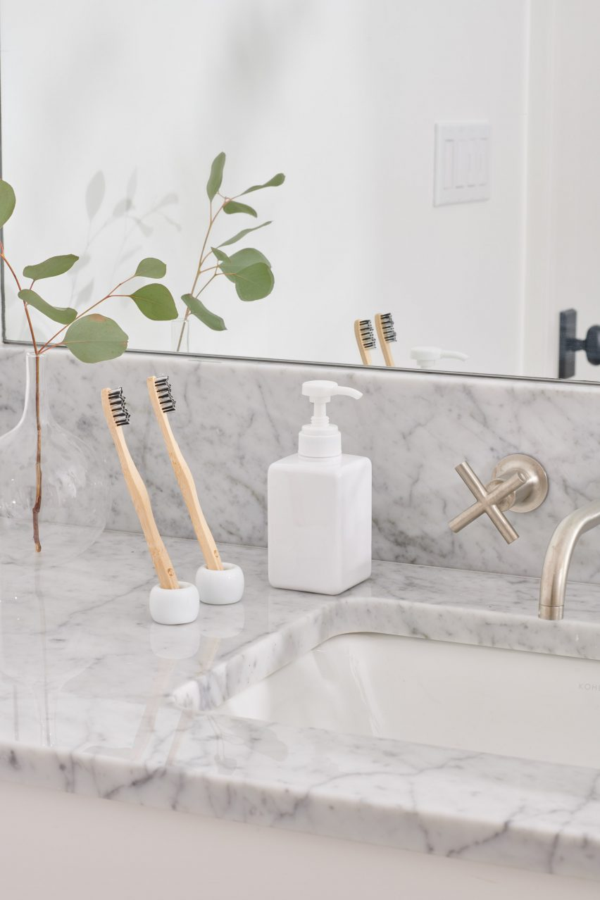 Soap dispensers feature in the Airbnb Host Essentials kit by Muji