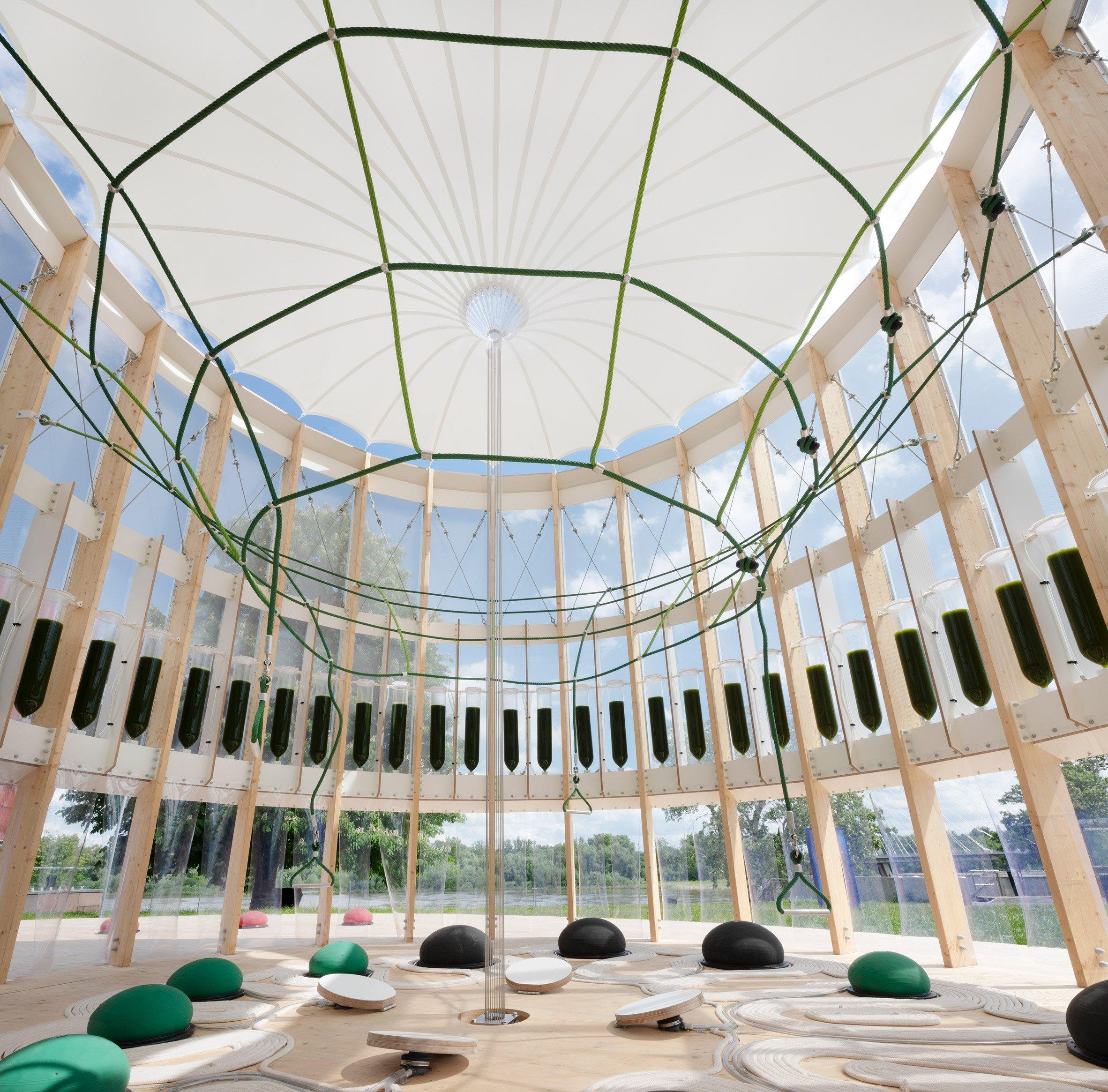 AirBubble interior with ring of algae bioreactors