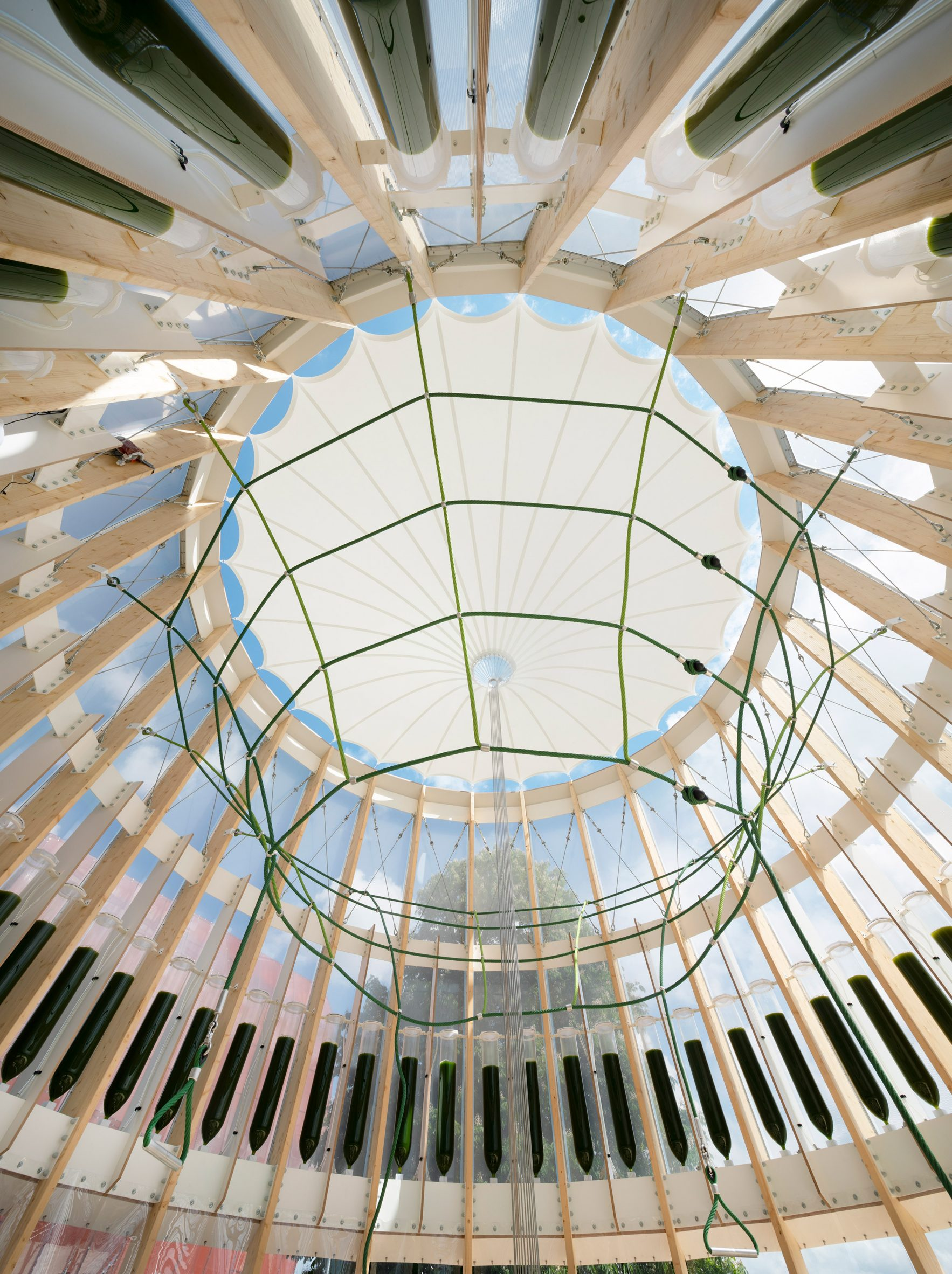 Conical roof membrane inside the playground