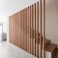 wooden strips form a balustrade