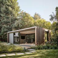 Cedar slats wrap backyard pavilions by Feldman Architecture at Silicon Valley home