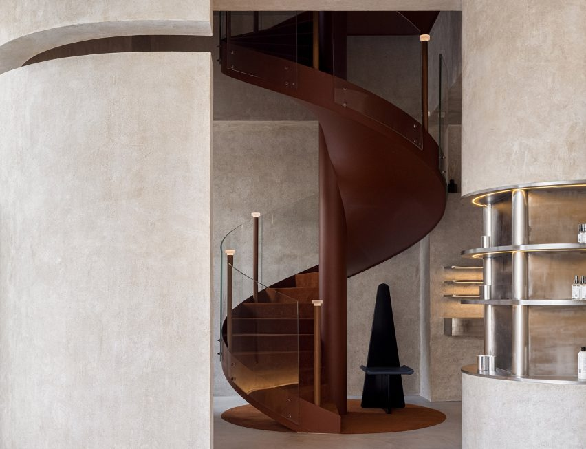 Rust-coloured staircase