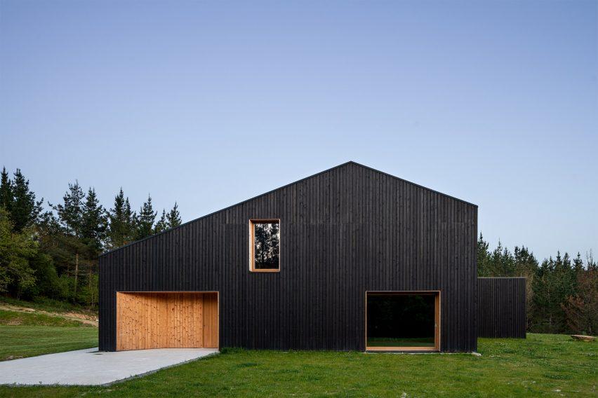 Black timber house Caserío Azkarraga in Amorebieta-Etxano, Spain