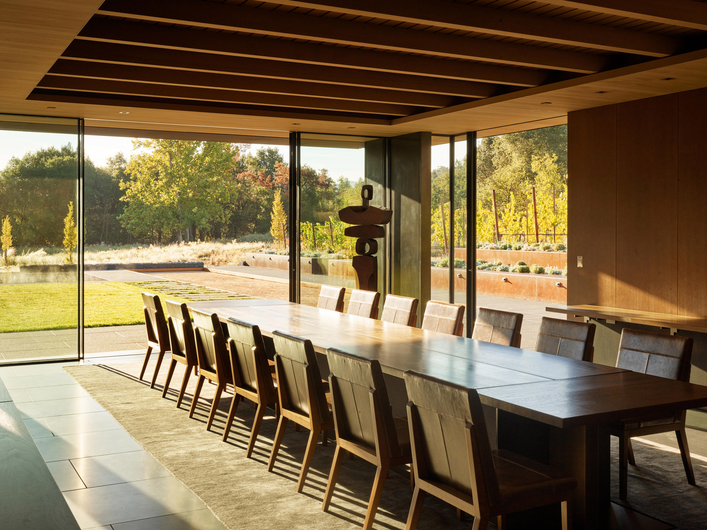 Earthy finishes were used for the house's interiors