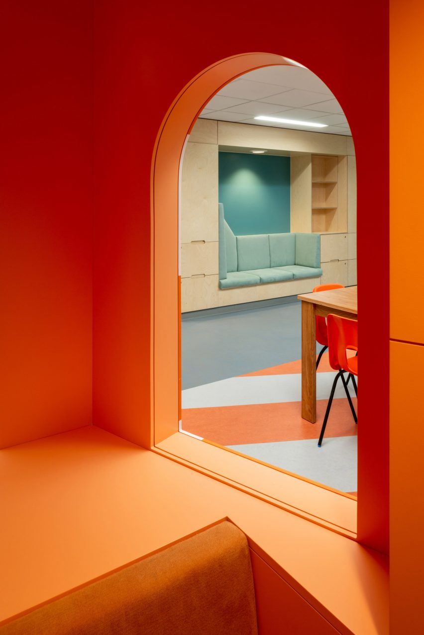 Interior of the orange lighthouse at the CAMHS Edinburgh mental health unit by Projects Office