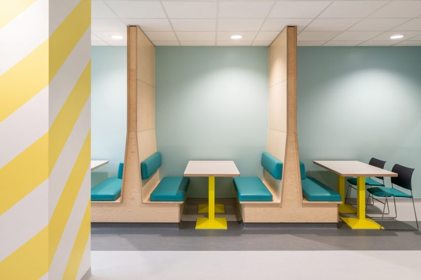 Benches in the dining room of CAMHS Edinburgh