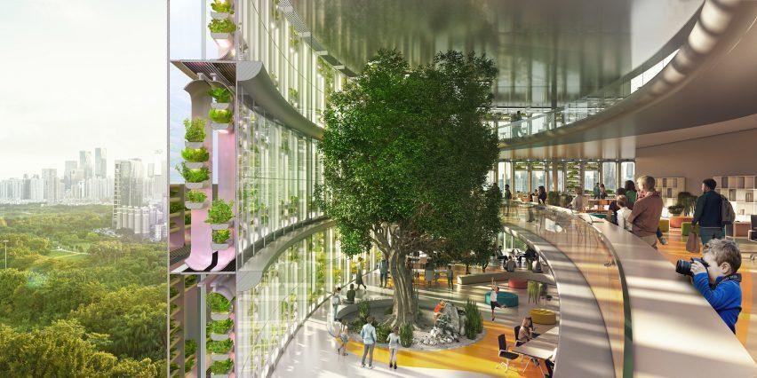 Jian mu tower has double height terraces